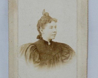 Antique Photograph Young Woman Wearing Butterfly Comb Bowman Mahanoy City, PA