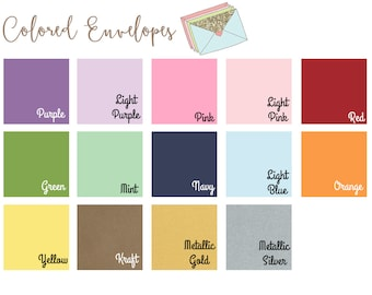 Colored or White Envelopes - Set of 10 - A7 (5.25x7.25) - For 5x7 Invitations or Announcements
