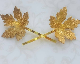 Gold Brass Maple Leaf Hairpins, Fall Bobby Pins, Woodland Nature Rustic Wedding Bridal Hair Clip, Canada