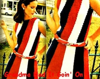 USA Flag Dress - Vintage Pattern - Striped Patriotic Dress - PDF Instant Download - 70s Mini Dress - Digital Pattern - Knitting Pattern