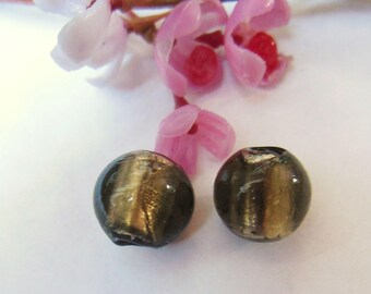 set of 10 round glass beads gray
