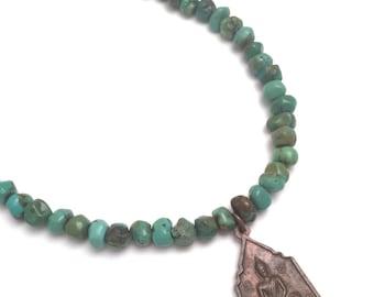 turquoise bead & buddha necklace, beaded turquoise necklace, buddha charm necklace, buddha pendant necklace, buddha and turquoise necklace