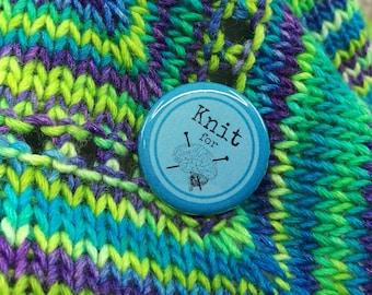 "Knit for Brains - Blue  - 1.25"" Button"