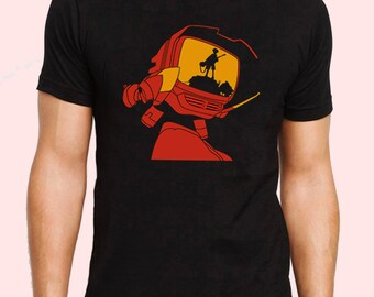 Fooly Cooly Canti With Naota Silhouette Minimalist FLCL Anime Inspired T-shirt. Male and Female Apparel