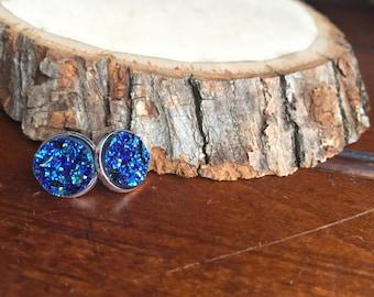 gorgeous faux sapphire druzy stud earrings
