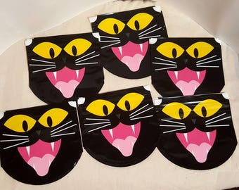 Halloween, treat bags, candy bags, gift bags, black cat, drawstring, cat