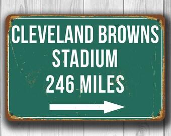 CLEVELAND BROWNS STADIUM Sign, Distance Sign, Cleveland Browns Stadium, Miles Sign, Highway Distance Signs, Home of the Cleveland Browns