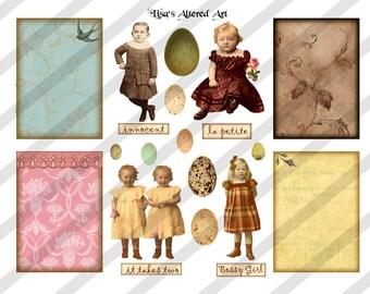Digital Collage Sheet Children Vintage Images  (Sheet no. O66) Ephemera-Instant Download