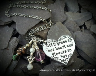 Hand Stamped ' Grace in her heart, flowers in her hair' Heart Necklace, Quote Jewellery, Lyrics, Stamped Necklace,Stamped Metal Jewellery.