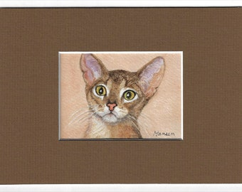 """ACEO Original Abyssinian Cat Miniature Watercolor Painting - Includes Mat - """"Amazing Abyssinian"""" - by Cheryl Hansen"""