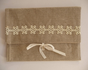 Beige linen tie closure fabric pouch