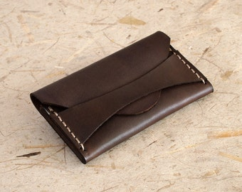 Handmade Dark Brown Leather, Card - Business Card Case - Wallet
