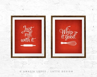 Set of TWO prints Red kitchen print Mothers day print Whip it good kitchen wall art Kitchen decor Set of two kitchen prints Mothers day gift