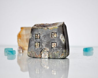 Art Handmade Black Raku fired Ceramic houses with golden and copper glazes, Hand sculpted and raku or earthenware fired, Raku pottery