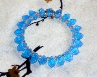 BLUE WIDOW  Glass  Leaves - Beaded Memory Wire Wrap Bracelet