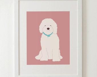 "Labradoodle art print, art decor, dog print, kids room decor 8x10"" 11x14"""