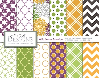 Lime, Purple, and Marigold Paper Pack - 12 digital paper patterns - INSTANT DOWNLOAD