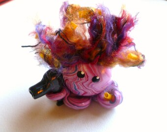 Octopus Mini Marble Friend Bad Hair Day in Royal Blue Lavender and Red Swirl