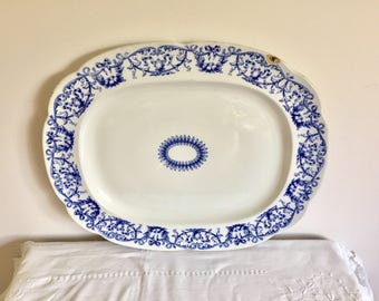Antique very large blue and white platter.