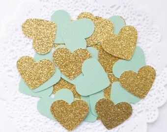 Mint Green and Gold Confetti, Glitter Confetti, Heart Confetti, Gold Baby Shower,Mint Green Wedding,Party Decor, Bridal Shower