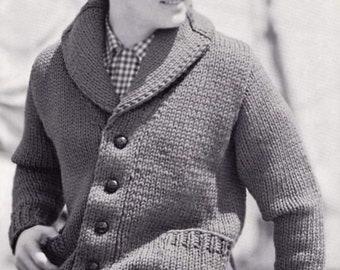Knitting pattern Men's Cardigan with shawl collar 1960s - Vintage Jacket man gigantic heavy medium weights  Instant download