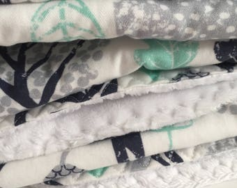custom baby blanket ~ navy/mint woodland animals ~ chic couture ~ baby accessories ~ custom made baby blanket from lillybelle designs