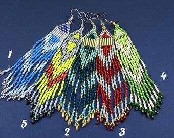 Beaded Fringe Earrings, Indian Earrings, Boho, Jewelry, Beadwork Earrings, American Earrings, Chandelier Earrings, Long Dangle Earrings