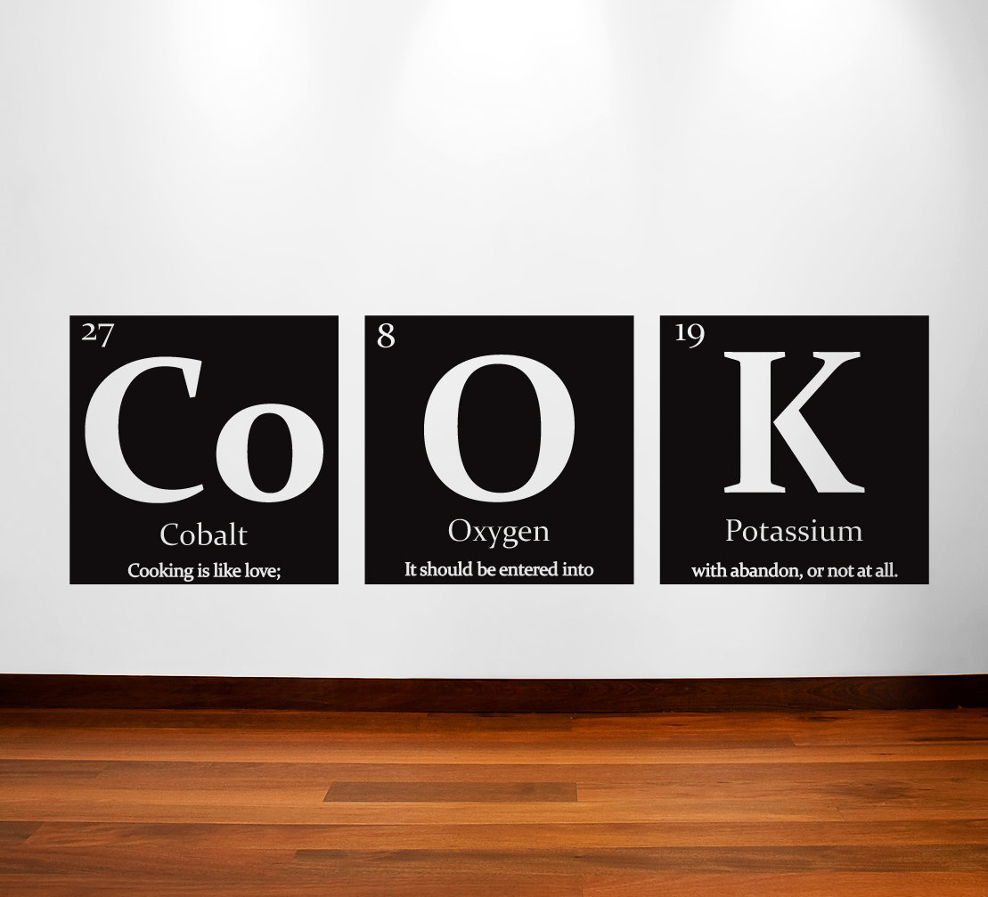 Table of elements cook vinyl wall decal with quote zoom buycottarizona Images