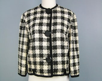 Boxy Vintage Blazer / Vtg 60s / Handmade Boxy Black and white checked jacket /
