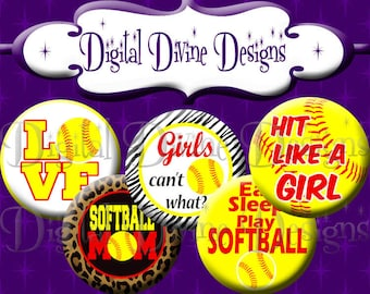 Softball SOS05 - 1 inch round digital graphics - Instant Download