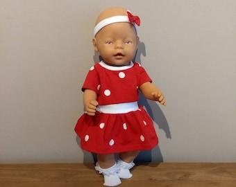 Baby Born 43 cm doll dress with headband