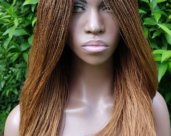 """Micro Needle 'Million' Braid Wig with lace parting  16"""" and 20"""" (Black, Burgundy and Honey Blonde available)"""