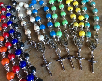 Prayer bracelet, pocket rosary - handmade with dyed turquoise beads, small crucifix and rosary connector