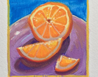 Original Handpainted Colorful Still Life Orange Gouache Painting