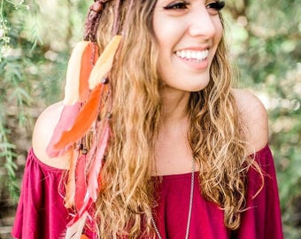 Feather Headband - Feather Extensions - Indie Festival Hippie Headband - Bohemian - Indian Summer - Burning Man
