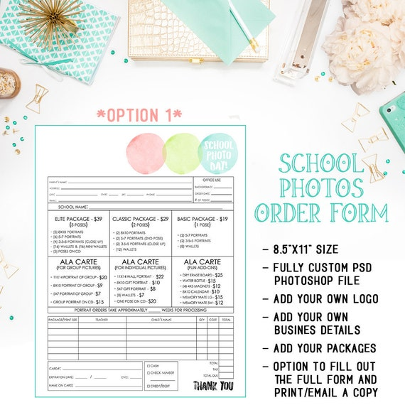 School Preschool Daycare Photography Order Form Template