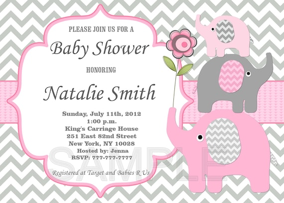 Girl Baby Shower Invitation Elephant Baby Shower Invitation Pink Grey Baby  Shower Invites (50 1) Free Thank You Card Instant Download