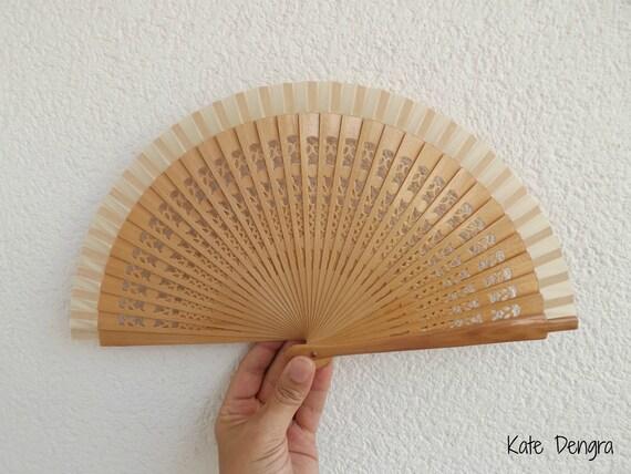 Sml Plain Fret Natural Wooden Hand Fan Customizable