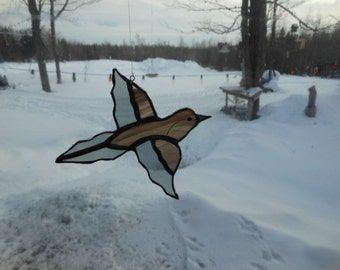 mourning dove stained glass suncatcher