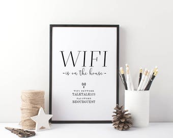 WIFI is on the House -  Typography Home Print