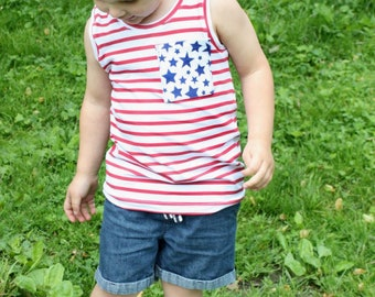 Stars and Stripes Tank Top / Unisex Shirt / Kids Tank Top / Baby Tank Top / Fourth of July Clothes / Curved Hem / 4th of July Shirt / USA