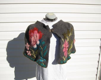 Felted Wool Hand Knit Capelet