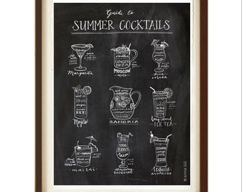 Summer Cocktails Guide, Drinks Recipes, Calligraphy, Margarita, Pina Colada, Sangria, Tequila Sunrise, Illustration Art Print, Poster Art