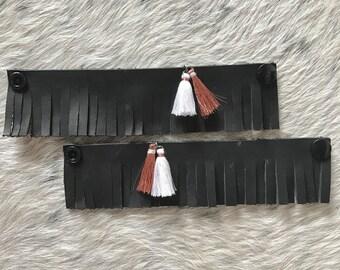 Children's boho leather anklets - black