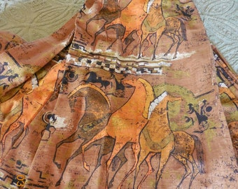 Vintage Pair Barkcloth Curtains | 60's Linen Barkcloth Trojan Horse Design Drapes
