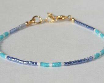 Seed Bead Bracelet Blue- Layering Bead Bracelet - Mikuyi Bead Bracelet- Stacking Blue Bracelet- Layering Bracelet- Friendship Bracelet Blue