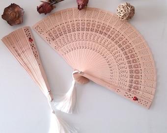Hand fan, rustic wedding fan, set of 2, wooden hand fan, wedding favors, cream, silk tassel, wedding wood fans, bridesmaid gifts