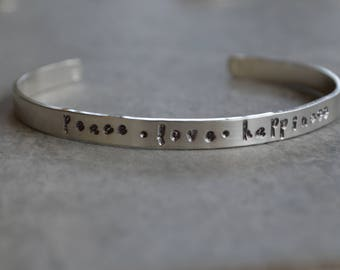 personalized sterling silver cuff bracelet peace love happiness