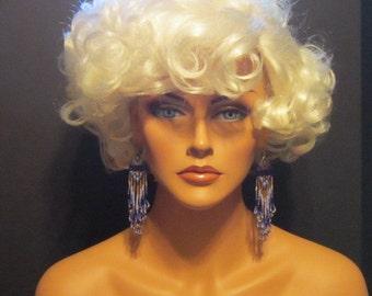 Vintage Blue and Gold Bead Shoulder Duster Hook Earrings