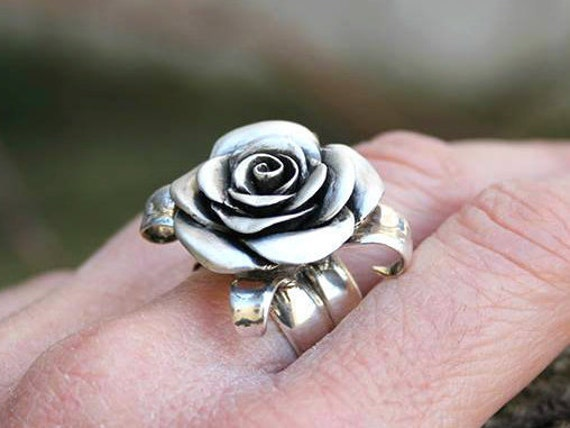 Flower ring, rose ring, rosebud sterling silver rose handcarved handmade statement ring feminine romantic floral jewelry adjustable ring